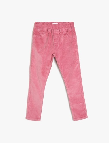 Koton Kids Cep Detaylı Kadife Pantolon Pembe